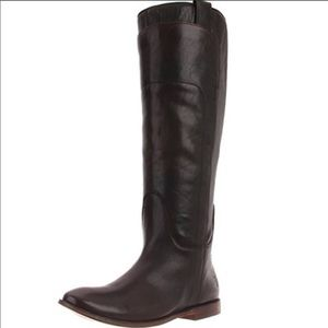 {FRYE} Paige Tall Leather Dark Brown Riding Boot